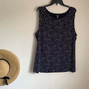 5/$25 Lands' End Spotted Navy Tank XL